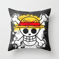 luffy Throw Pillows featuring Straw Hat Pirates by rKrovs