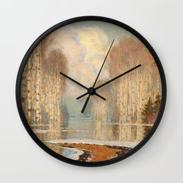 Riverscape by Vilhelms Purvītis - Latvian Lettish Fine Art - Purvitis Wall Clock