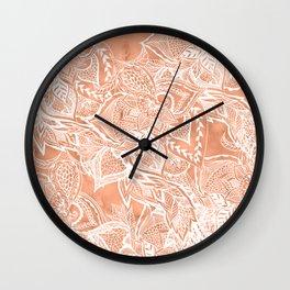 Modern tan copper terracotta watercolor floral white boho hand drawn pattern Wall Clock