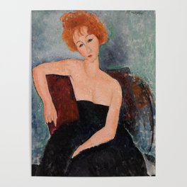 Redheaded Girl in Evening Dress by Amedeo Modigliani, 1918 Poster