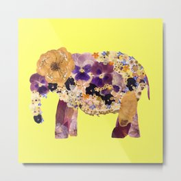 Floral Elephant - yellow Metal Print