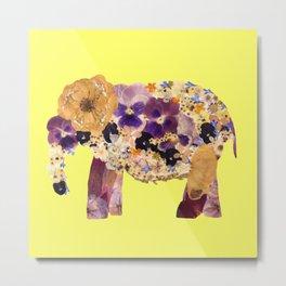 Floral Elephant - yellow Metal Print