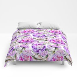 Modern lilac violet watercolor hand painted floral motif Comforters