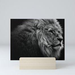 Black Print Lion Mini Art Print