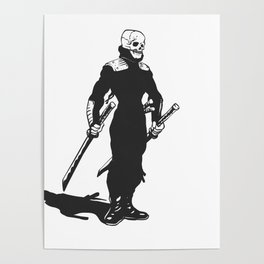 Ninja  skeleton  illustration Poster