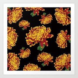 Floral Theme- Chrysanthemum Watercolor Painting Art Print