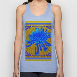 ABSTRACT BABY BLUE SPIDER MUM ON GOLD PATTERN FLOWERS Unisex Tank Top