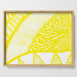Free Hand Zesty Lemon Doodle Design Serving Tray
