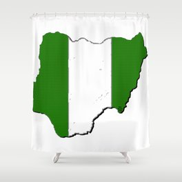 Nigeria Map with Nigerian Flag Shower Curtain