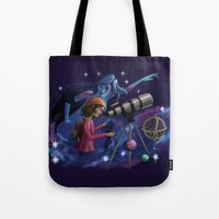 astronomy Tote Bags featuring Muse of Astronomy by Jessica Chrysler