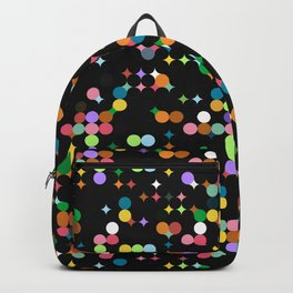CONFETTI bright colourful dots on black background Backpack