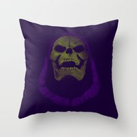 he man Throw Pillows featuring SKELETOR / HE-MAN by UNDEAD MISTER / MRCLV