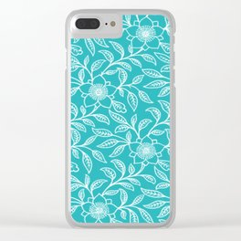 Aquamarine Lace Floral Clear iPhone Case