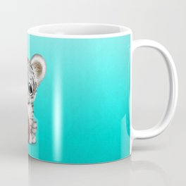White Tiger Cub Playing With Basketball Coffee Mug