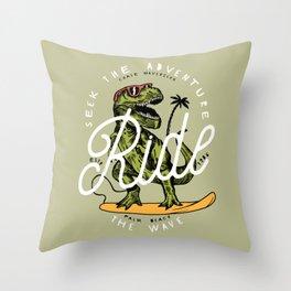 Dinosaur Surfer Throw Pillow