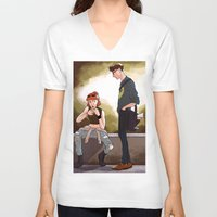 dana scully V-neck T-shirts featuring Hey Scully... by Jena Young