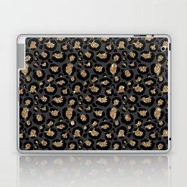 Black Gold Leopard Print Pattern Laptop & iPad Skin