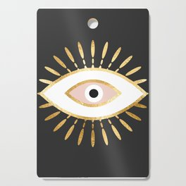 gold foil evil eye in blush Cutting Board