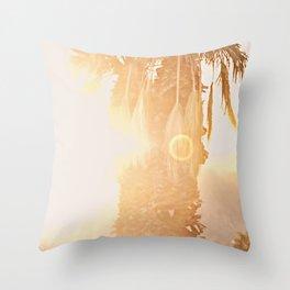 California Fine Art Print Yellow, Peach, Cream La Quinta Palm Tree Photograph - Desert Sunset  Throw Pillow