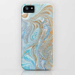 Marble turquoise gold silver iPhone Case