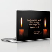 shakespeare Laptop & iPad Skins featuring Shakespeare Candle Flame by Bebop's Place