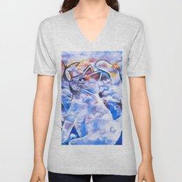 Cat in Blue Clouds Unisex V-Neck