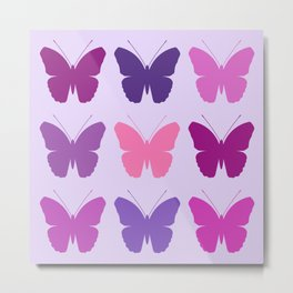 Butterly Silhouettes 3x3 Pinks Purples Mauves Metal Print
