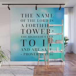 Proverbs 18:10 Bible Quote Wall Mural