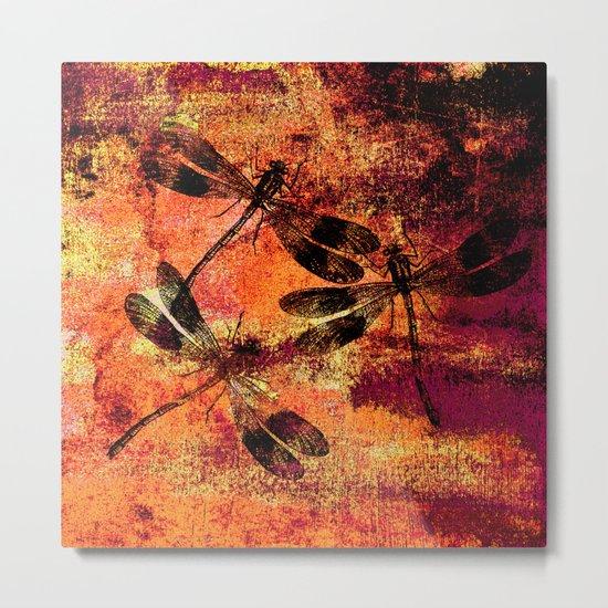 Black Dragonflies Metal Print