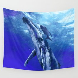 Whale with baby Wall Tapestry