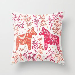 Swedish Dala Horses – Melon Palette Throw Pillow