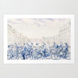 Amsterdam cyclists Art Print