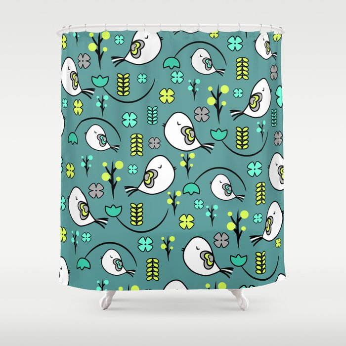 Cute birds and flowers Shower Curtain