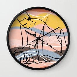 The Waves Of Sex 2, Erotic Lovers Art, Minimalist Sex Illustration, Modern Sex Pose Line Drawing Wall Clock