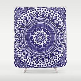 Mandala 006 Midnight Blue on White Background Shower Curtain