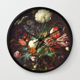 Vase of Flowers II - de Heem Wall Clock