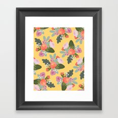 Peach and Yellow Floral Framed Art Print