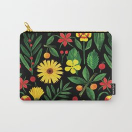 Black yellow orange green watercolor tulips daisies pattern Carry-All Pouch