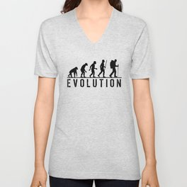 The Evolution Of Man And Hiking Unisex V-Neck