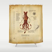 kraken Shower Curtains featuring Kraken by Laurence Andrew Page Illustrator