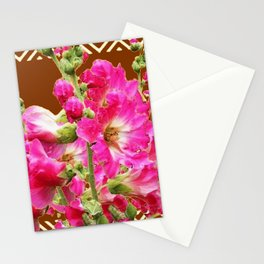 Coffee Brown Fuchsia Pink Holly Hocks Pattern Flora Art Stationery Cards