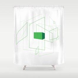 Blueprint #1 (green) Shower Curtain