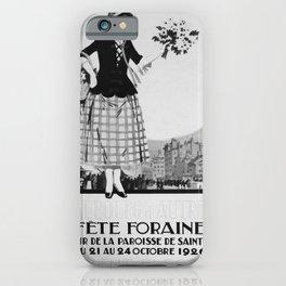 retro monochrome Fete Foraine vintage poster iPhone Case