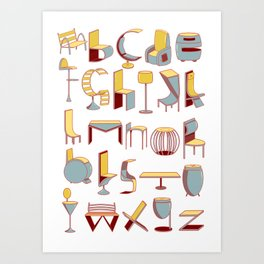 Chair alphabet Art Print