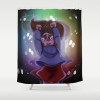 gravity falls Shower Curtains featuring Gravity Falls- Floating by Welcoming-Meg