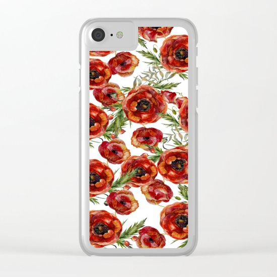 Poppy Pattern On White Background Clear iPhone Case