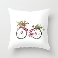 Throw Pillows featuring Red Christmas bicycle by Jennifer Rizzo Design Company