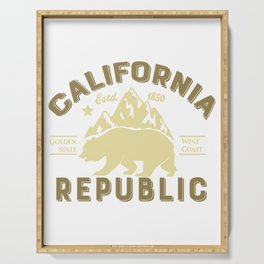 Vintage Retro California Republic Golden State Grizzly Bear Mountains Serving Tray