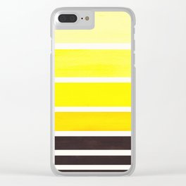 Yellow Minimalist Watercolor Mid Century Staggered Stripes Rothko Color Block Geometric Art Clear iPhone Case