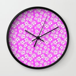 Purple Hawaiian Hibiscus Flowers Wall Clock
